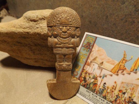 Pre-Coumbian Inca Tumi / Timu ceremonial knife artifact replica - Peruvian art