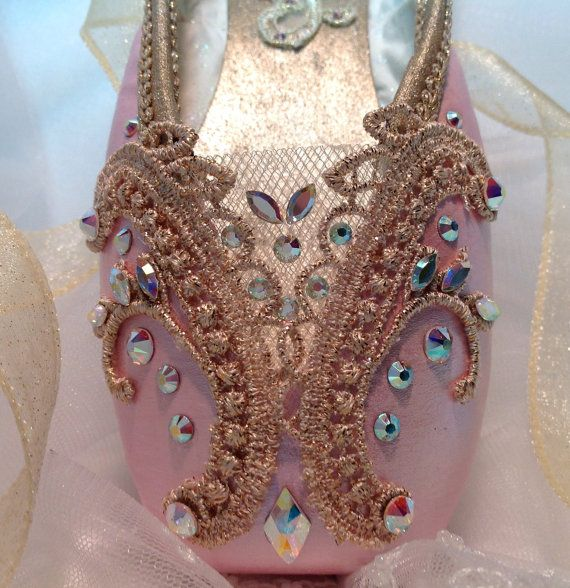 Pink and gold decorated pointe shoe by DesignsEnPointe