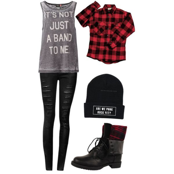 "<3 ""It's not just a band to me"" tee, black ripped skinny jeans, plaid cover up shirt, beanie, and combat boots"