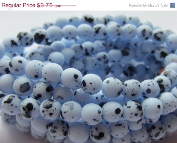 ON SALE Czech Glass Bead Round Druk 6mm Blue by gypsybeadpeddler, $3.01