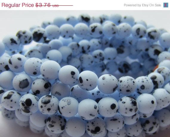 ON SALE Czech Glass Bead Round Druk 6mm Blue by gypsybeadpeddler, $3.01