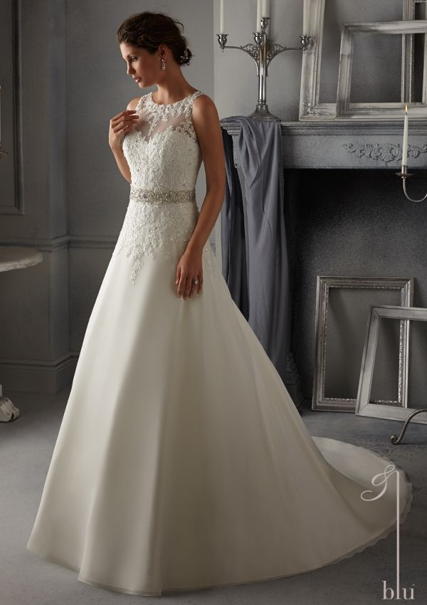 bridal dress from Blu by Mori Lee Dress Style 5271 Embroidered Lace Appliques on a Delicate Chiffon Bridal Gown with Light Beading