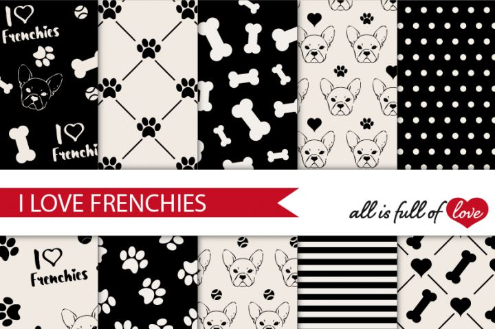 I Love Frenchies Digital Background Papers:: Black and Ivory White Patterns with French Bulldogs illustrations and dog themes like paws and bones + stripes and polka dots You get 10 High Quality Sheets :: JPG files size 12x12 inches with 300 dpi jpg, for perfect printing or digital use. These have so many uses, they are great for scrapbooking, crafts, party decor, DIY projects, blogs & more. All patterns are o