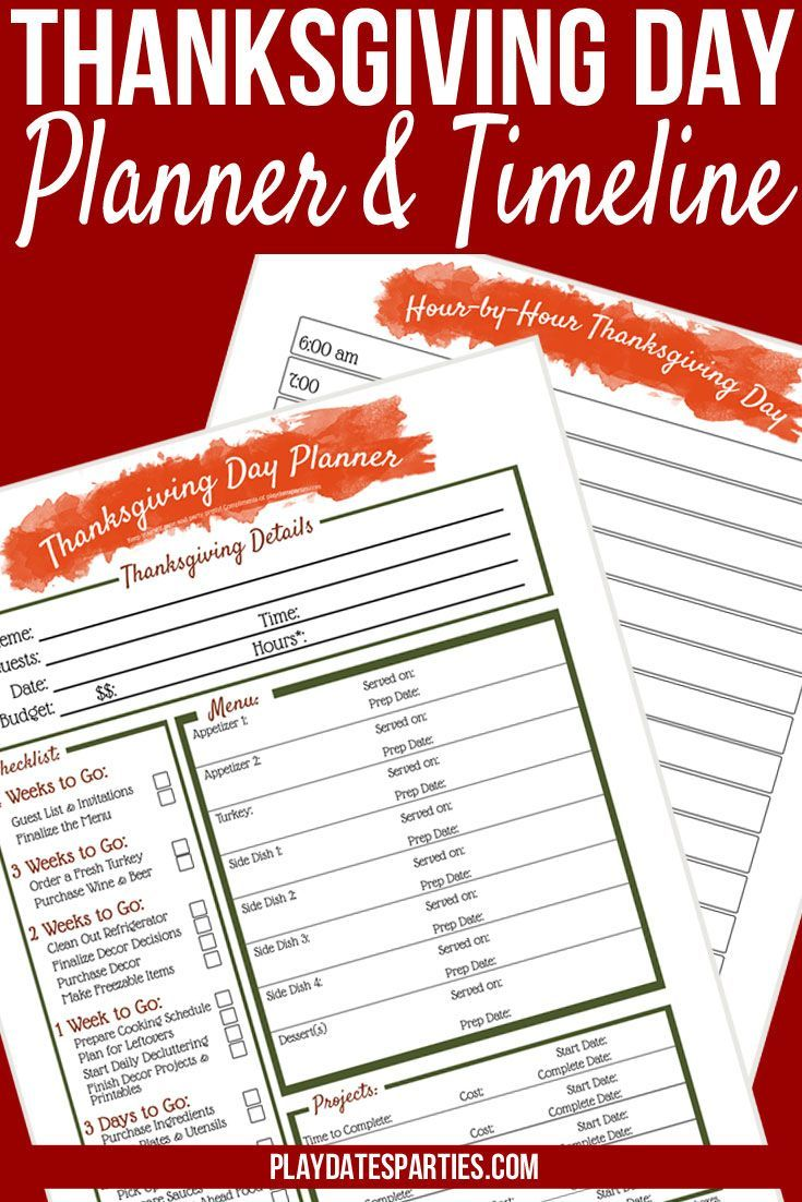 This free printable Thanksgiving dinner planner is the best way to get organized. With a 4-week #Thanksgiving checklist and timeline right alongside your Thanksgiving #Menu Planner, your holiday is sure to stay cool and calm! http://playdatesparties.com/t
