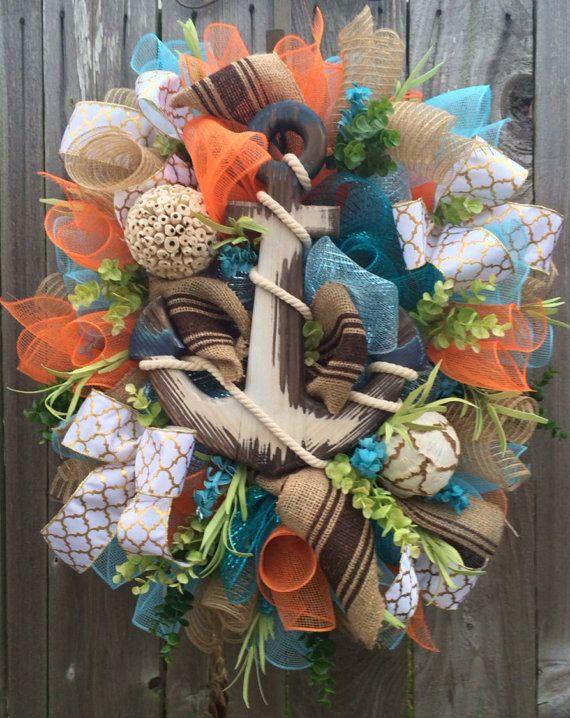 Summer Wreath Nautical Wreath Anchor Decoration by BaBamWreaths