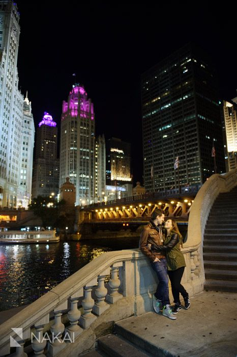 Chicago Engagement Pictures at Night! Chicago Skyline, wrigley building + Chicago River! Creative engagement photos incorporating architecture! Chicago Engagement Photographer - Nakai Photography http://www.nakaiphotography.com