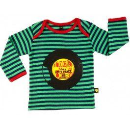 Groen gestreept T-shirt met vinylplaat - Rockabye-baby
