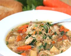 Slow Cooker Chicken Soup: 4 potatoes, peeled and diced,   4 carrots, peeled and sliced,   2 brown onions, diced,   4 sticks of celery, sliced,   4 cloves garlic, crushed,   2L chicken stock,   1 pkt French onion soup,   6 chicken thighs whole, trimmed of all fat