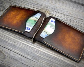 Leather Money Clip Wallet Distressed Leather by LeatherWay