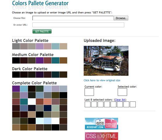 CSS Drive-Imageto Colors Palette Generator