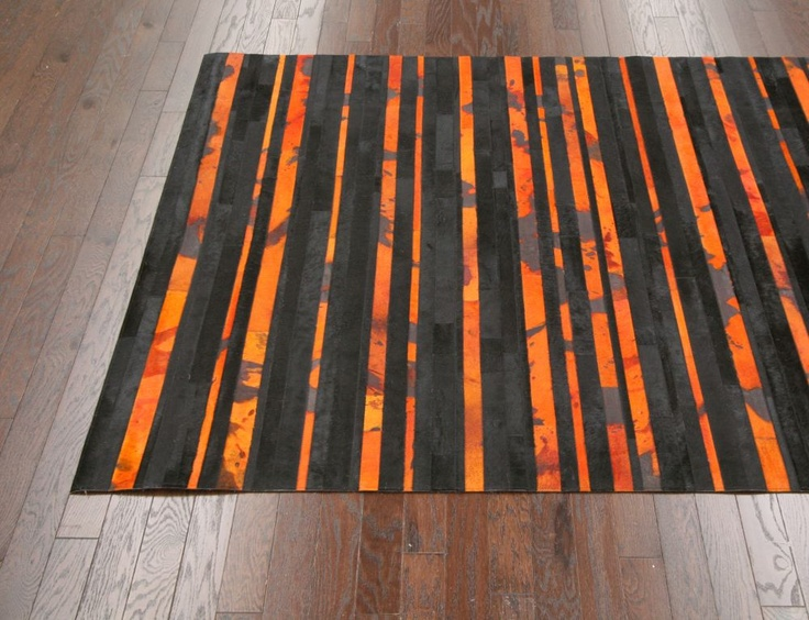 Nosheen Acid Spill Cow Hide Orange Rug Contemporary Rugs