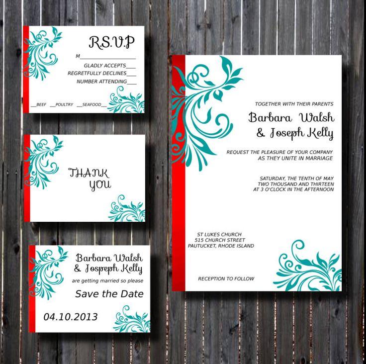 cinderellthemed wedding scroll invitations%0A Wedding Invitation SuiteDIY Printable Red and TealFancy Flourish ScrollDIY