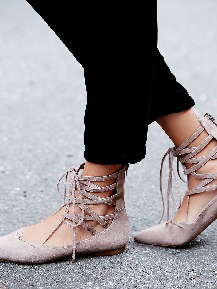 suede lace up pointy toe flat