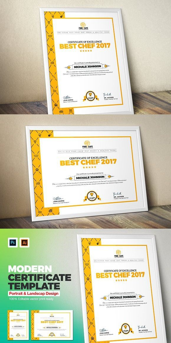 Modern Certificate Template Fastfood Bestchef Stationery