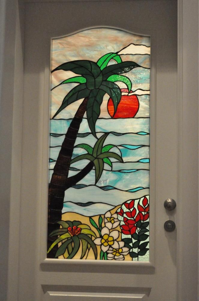 Tropical Stained Glass Door