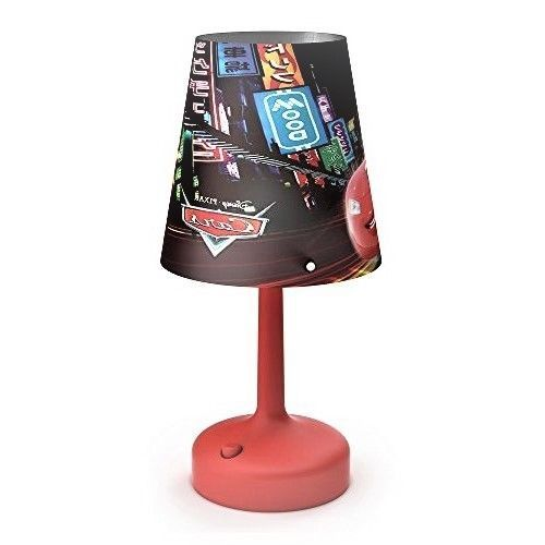 DISNEY CARS CHILDREN BEDSIDE TABLE LAMP PORTABLE LED INTEGRATED BATTERY OPERATED
