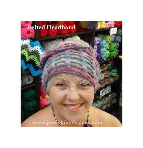 """""""Felted"""" headband in wool and soy bean"""
