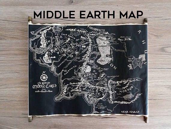 map of middle earth handmade scroll black map of middle earth tolkien map lord of the rings map