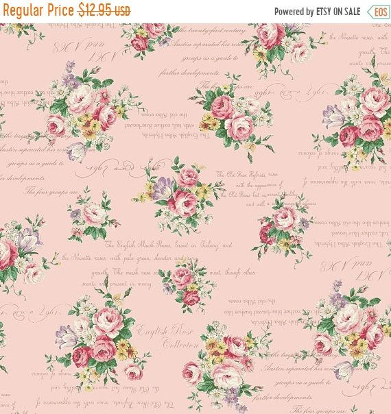 Easter Sale English Rose Garden Small Bouquets Pink Cotton Fabric