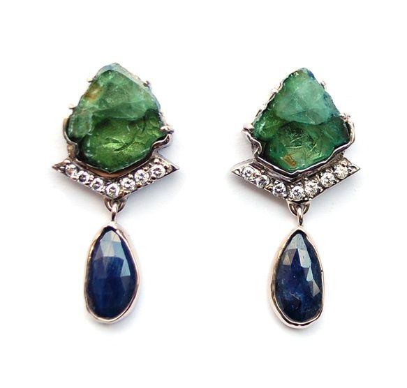 Witgouden oorsieraden met edelstenen en diamant
