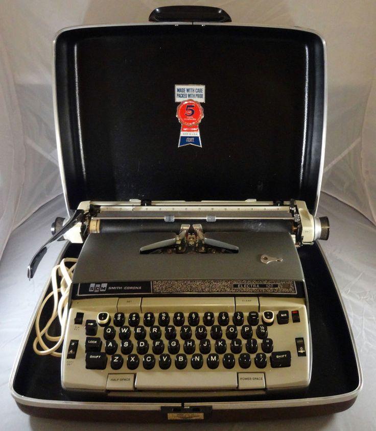 Vintage Smith Corona Electra 120 Portable Electric Typewriter with Case Gray. #SmithCorona