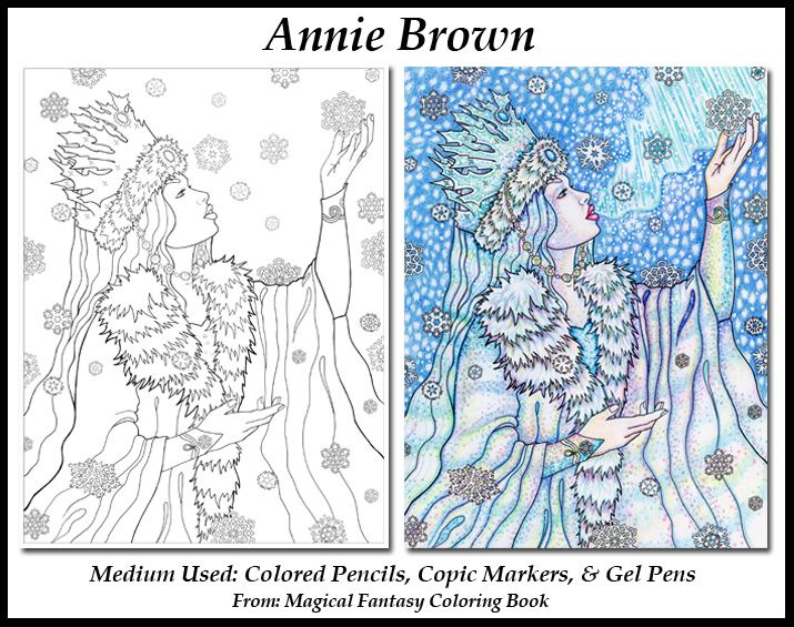 Snow Queen Coloring Page Adult Coloring Book Before And After From The Magical Fantasy Coloring Book By Coloring Books Adult Coloring Books Coloring Pages