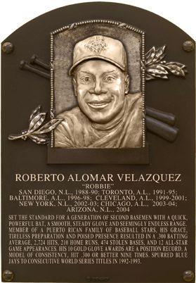 Roberto Alomar, 2B, Most notably w Toronto Blue Jays, Baseball Hall of Fame