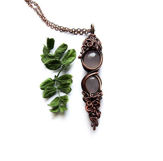 Rose Quartz Necklace Elvish Copper Rustic Necklace by KicaBijoux