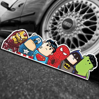 It's a bird, it's a plane, it's a carload of mini superheroes checking you out! Our BOOM-ZING-POW!-tastic Kawaii Superhero Mashup Car Sticker is sure to set your spidey senses tingling.