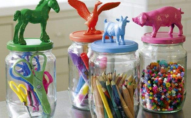 BabyZone: 10 Repurposed Toy Storage Ideas | Pasta Jar Art Storage