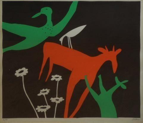 Walter Battiss (1906 - 1982)   Pop Art   Birds and Buck