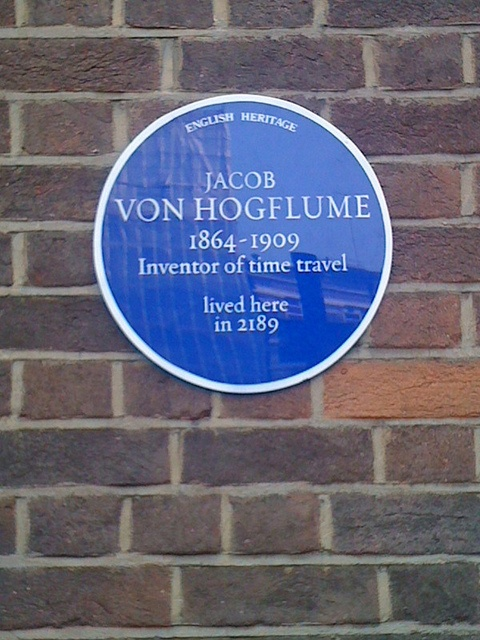 English Heritage plaque for inventor of time travel