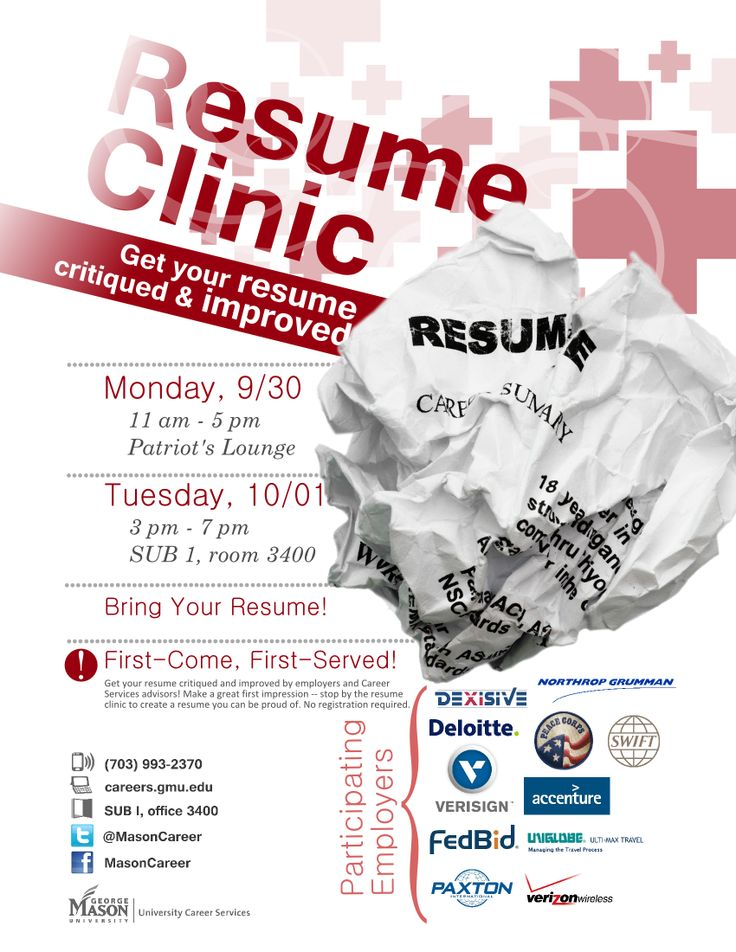 resume clinic come get your resume critiqued and improved by participating employers and career services advisors planning on attending the upcoming