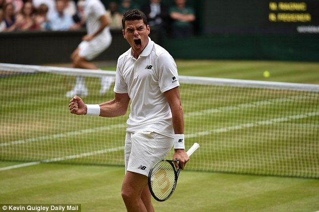 July 8th. 2016: Milos Raonic roars with delight on his way to a surprise Wimbledon semi-final victory over Roger Federer