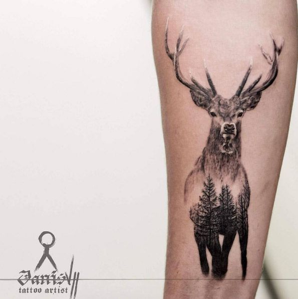 Double+exposure+stag+tattoo+by+Janis