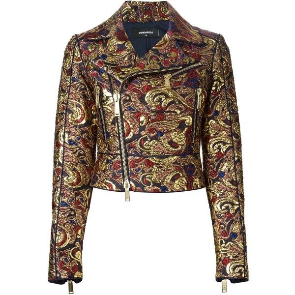 Dsquared2 brocade biker jacket (38 930 ZAR) ❤ liked on Polyvore featuring outerwear, jackets, metallic, long sleeve crop jacket, brown motorcycle jacket, dsquared2, dsquared2 jacket and long sleeve jacket