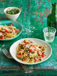 Recept voor spaghetti met boerenkoolpesto en chorizo