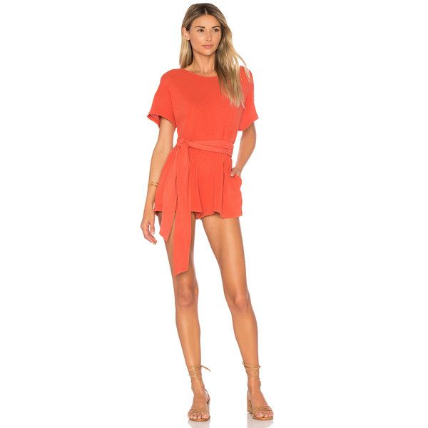Free People Easy Street Wrapped Knit One Piece (€67) ❤ liked on Polyvore featuring jumpsuits, rompers & jumpsuits, jump suit, red jumpsuit, red slip, free people slip and knit romper