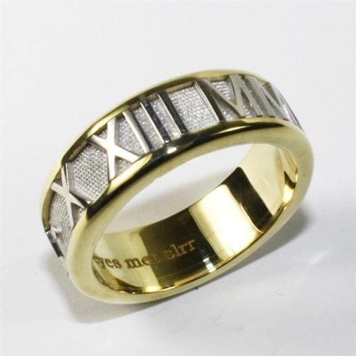 Roman Numeral Wedding Bands: Roman Numeral Ring, Two Tone
