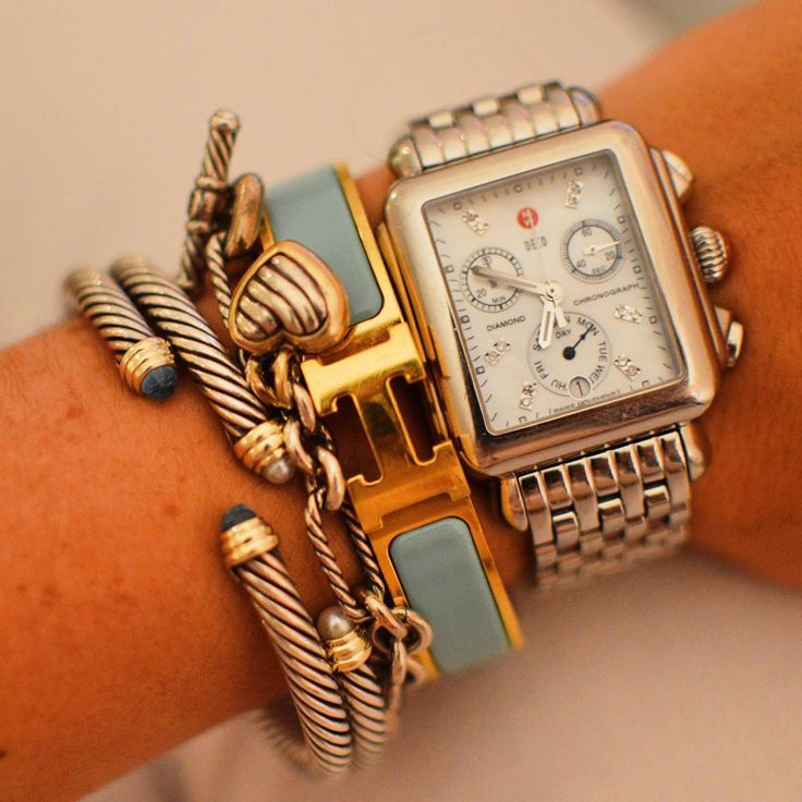 Who doesn't love a great stackable? Caroline from @lcbstyle loves stacking her Deco with Hermes and David Yurman. What is your favorite stack? #MyMICHELEstory #MICHELEwatches #LCBStyle #jewelry