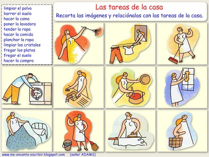 Me encanta escribir en español: Las tareas de la casa. (ESTAR + gerundio, ejercicio)