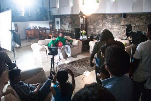 Photo gallery of Sri Lanka cricket player Kumar Sangakkara and his wife Yehali shooting a TV commercial