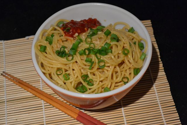 Garlic Butter Noodles with Scallions and Sambal
