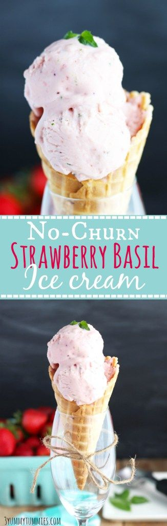 Basil adds a welcome flavor to this easy, No-Churn Strawberry Ice Cream!