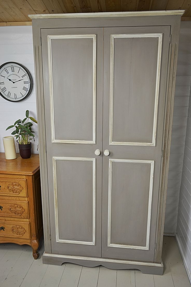 Hand painted in Annie Sloan French Linen with edges in Old White, this substantial double wardrobe has plenty of storage, with a hanging rail and top shelf. We love this colour combination, so why not make a statement in your bedroom!