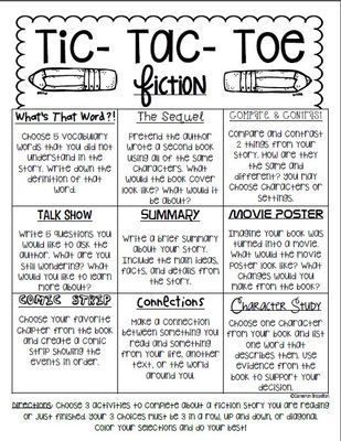 Reading Response Fiction Tic Tac Toe Choice Board from ccbrazel on TeachersNotebook.com (9 pages)