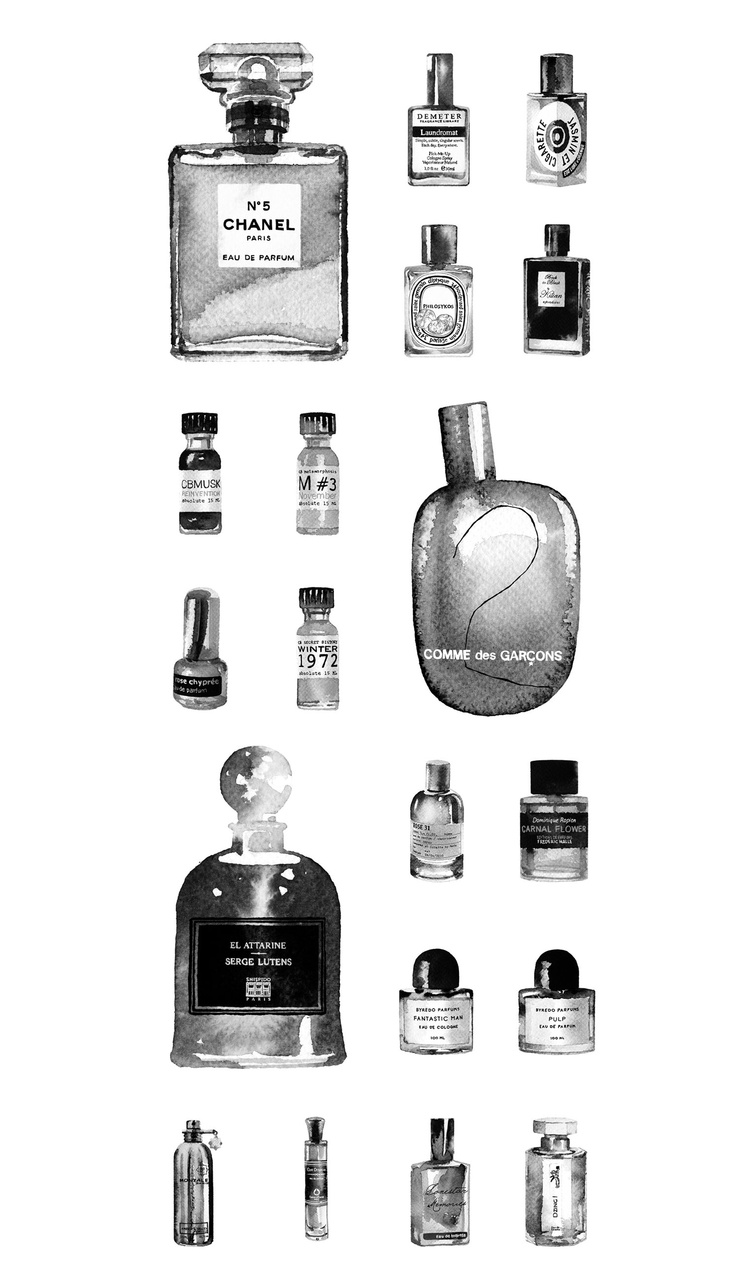 """""""Perfume II"""" // Illustrated perfume bottles for an article on the perfume industry in D2 magazine // Commando Group"""
