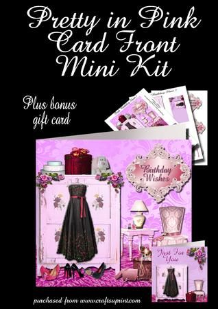 Pretty In Pink Birthday plus gift card on Craftsuprint - Add To Basket!