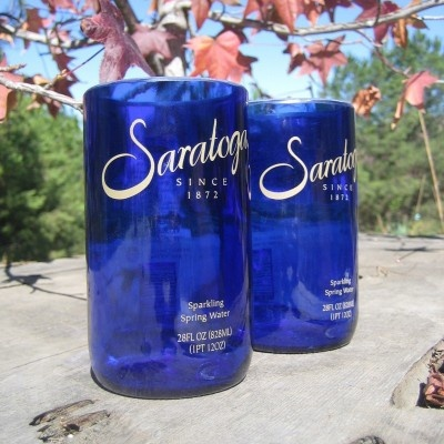 Very cool! Upcycled Saratoga water bottles turned into drinking glasses.