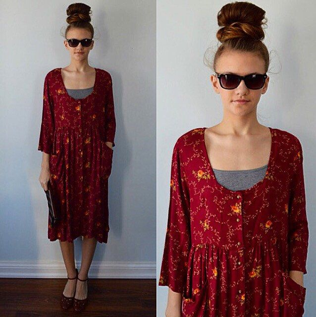 A personal favorite from my Etsy shop https://www.etsy.com/ca/listing/265380215/vintage-april-cornell-dark-red-casual